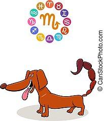 scorpion, zodiaque, signe, à, dessin animé, chien
