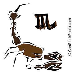 Scorpion, zodiaque, vecteur, signe