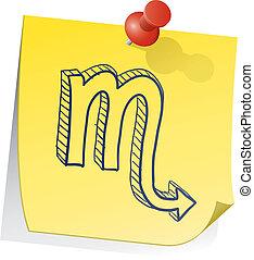 scorpione, nota, zodiaco, appiccicoso