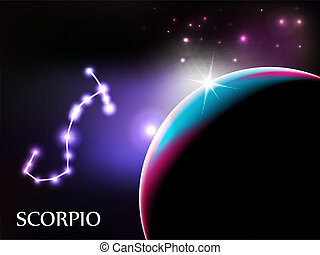 scorpione, segno astrologico, e, spazio copia