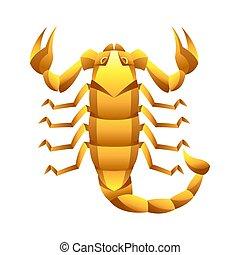 scorpione, segno, simbolo., oroscopo, zodiaco, dorato