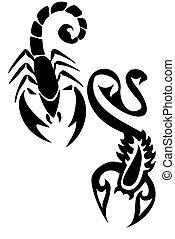 Scorpions - Pair of black tribal scorpion tatttoos