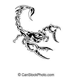 scorpion.vector, branca, pretas, aquilo