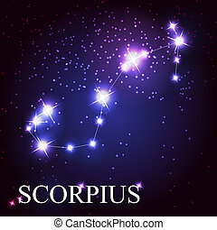 Scorpius zodiac sign of the beautiful bright stars on the background of cosmic sky