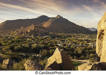 scot, arizona, uur, landscape, gouden