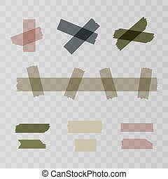 Scotch, adhesive tape pieces isolated on transparent background. Vector illustration for your web design