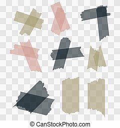 Scotch, adhesive tape pieces isolated on transparent background