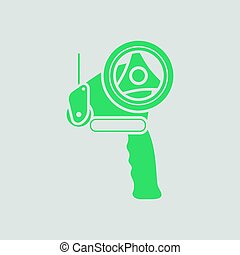 Scotch tape dispenser icon. Gray background with green....