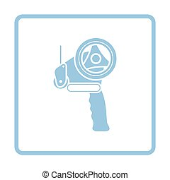 Scotch tape dispenser icon. Blue frame design. Vector...