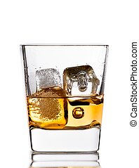 scotch whiskey in glass with ice cubes on white