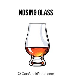 Scotch whiskey, rum, brandy nosing glass, sketch style...