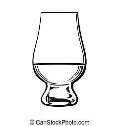 Scotch whiskey, rum, brandy nosing glass, sketch style...