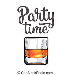 Scotch whiskey, rum, brandy shot glass, invitation, banner...