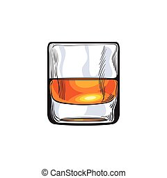 Scotch whiskey, rum, brandy shot glass, sketch style vector...