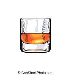 Scotch whiskey, rum, brandy shot glass, sketch style vector...