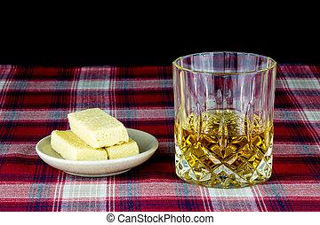 Scotch Whisky and Shortbread on a Tartan Table Cloth -...