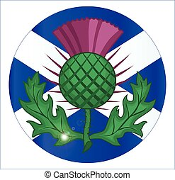Scotish Flag And Thistle Button - The official flag for...