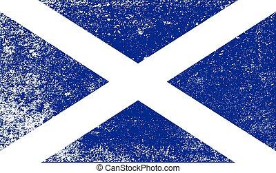 Scotish Flag With Grunge