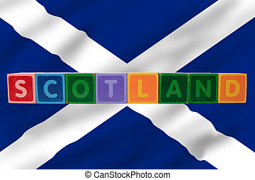 scotland and flag in toy block letters