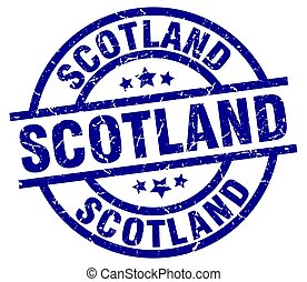 Scotland blue round grunge stamp
