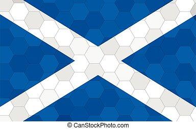 Scotland flag illustration. Futuristic Scottish flag graphic with abstract hexagon background vector. Scotland national flag symbolizes independence.