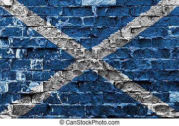 Scotland flag on brick wall