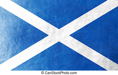 Scotland Flag painted on leather texture