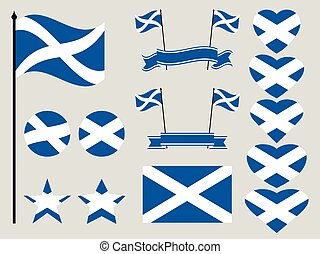 Scotland flag set. Collection of symbols heart and circle. Vector illustration
