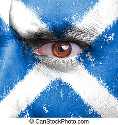 scotland flag - Scotland flag painted on angry man face