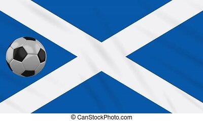 Scotland flag waving and football rotates, loop - Scotland...