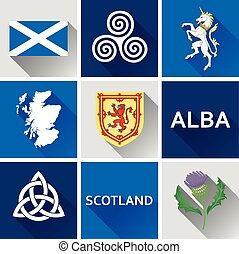 Scotland Flat Icon Set 1
