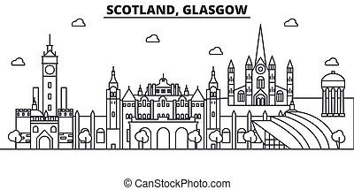 Scotland, Glasgow architecture line skyline illustration. Linear vector cityscape with famous landmarks, city sights, design icons. Landscape wtih editable strokes