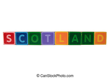 scotland in toy block letters