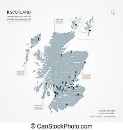 Scotland infographic map vector illustration.