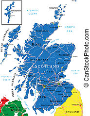 Scotland map - Highly detailed vector map of Scotland with...
