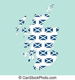 Scotland map filled with flag - vector illustration