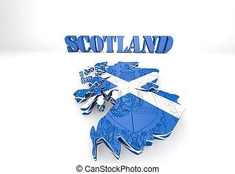 Scotland map flag 3d illustration