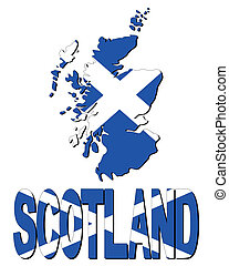 Scotland map flag and text