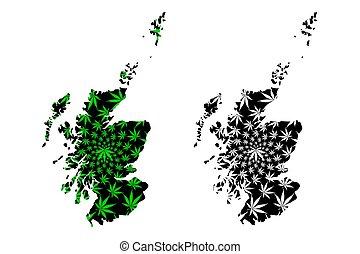 Scotland - map is designed cannabis leaf