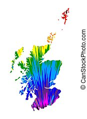 Scotland - map is designed rainbow abstract colorful pattern