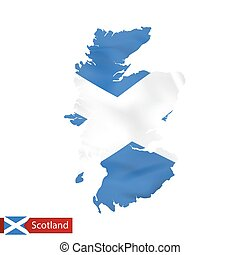 Scotland map with waving flag of country.