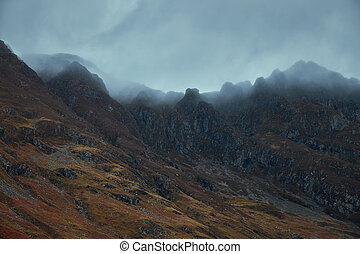 Scotland mountains covered with clouds