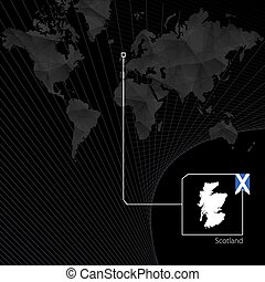 Scotland on black World Map. Map and flag of Scotland.