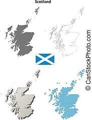 Scotland outline map set - Scotland blank detailed vector ...