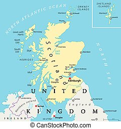 Scotland Political Map - Scotland political map with capital...