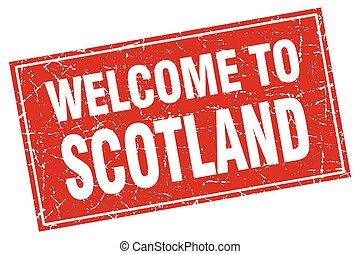 Scotland red square grunge welcome to stamp