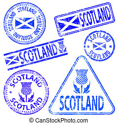 Scotland Rubber Stamps - Scotland different shaped rubber...