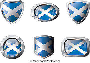 Scotland set shiny buttons and shields of flag with metal frame - vector illustration. Isolated abstract object against white background.