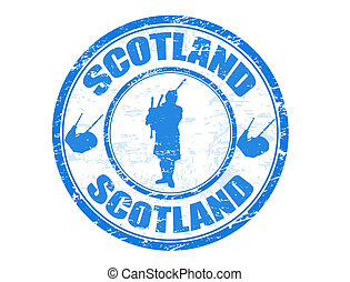Blue grunge rubber stamp with man silhouette playing the bagpipes and the name of Scotland written inside