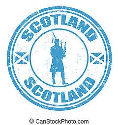 Scotland stamp - Blue grunge rubber stamp with man...